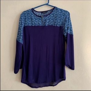 Blue colorblock floral chiffon blouse Medium